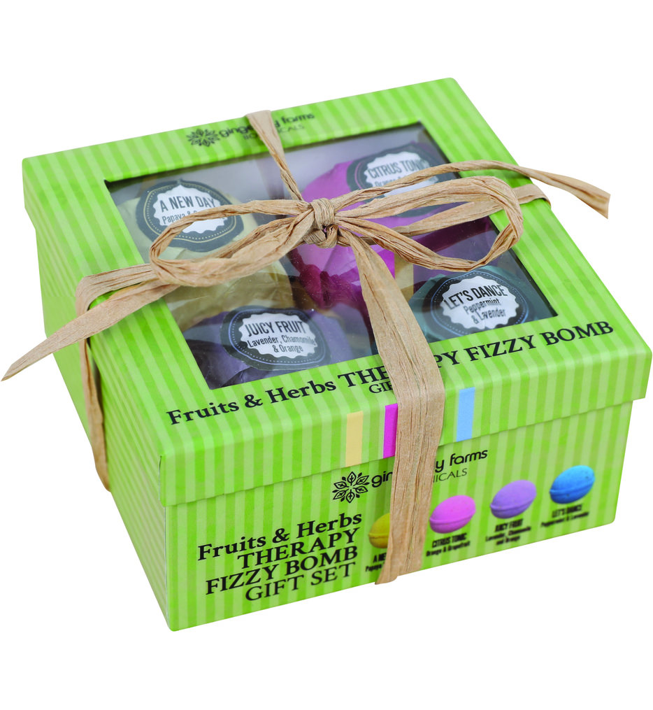 Ginger Lily Farms - Fruits & Herbs Therapy Fizzy Bath Bomb Gift Set