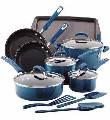 Rachael Ray - 14pc Hard Enamel Nonstick Cookware