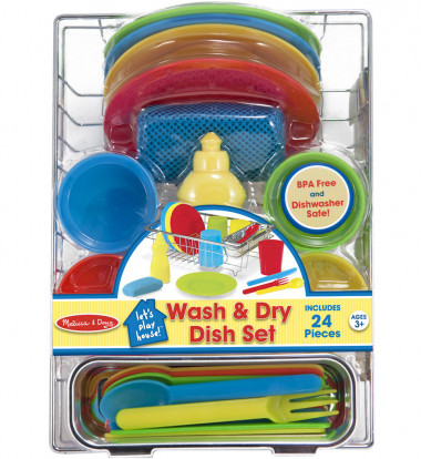 Melissa & Doug - Let's Play House! Wash & Dry Dish Set