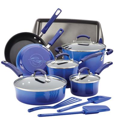 Rachael Ray - 14pc Hard Enamel Nonstick Cookware Blue Gradient